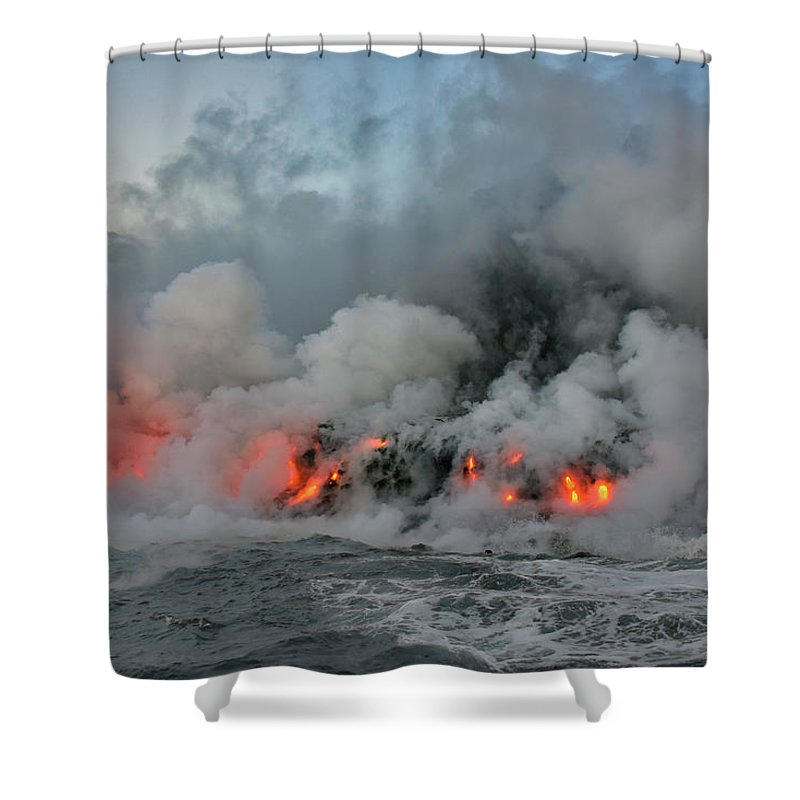 Volcano Shower Curtain featuring the photograph Making Of An Island by Jeannee C Gannuch