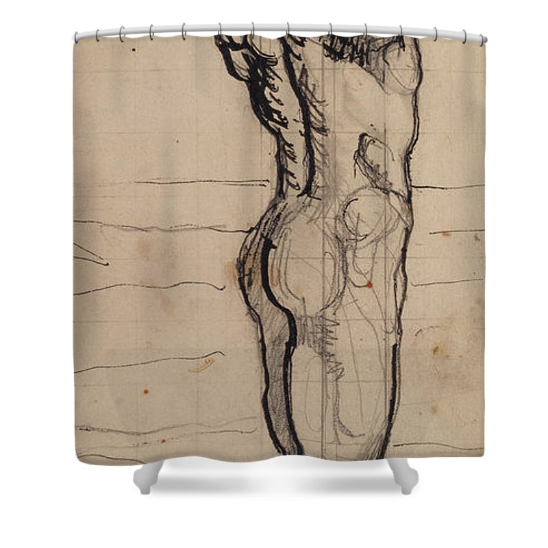 Drawing; Nude; Back View; Stretching; Standing; Full Length; Symbolist; Pen Shower Curtain featuring the drawing Male Act  Study For The Truth by Ferdninand Hodler