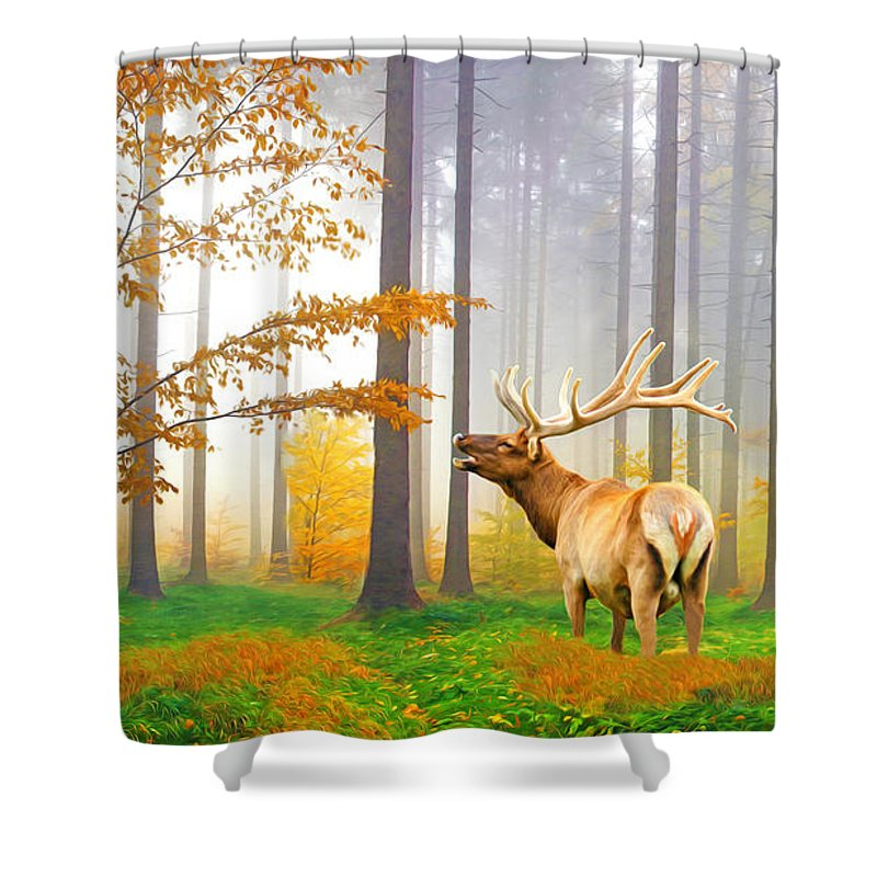 Elk Shower Curtain Featuring The Photograph Male Bugling By Laura D Young