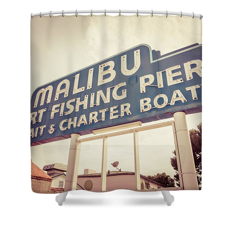 Malibu Sign Sport Fishing Pier Picture Shower Curtain For