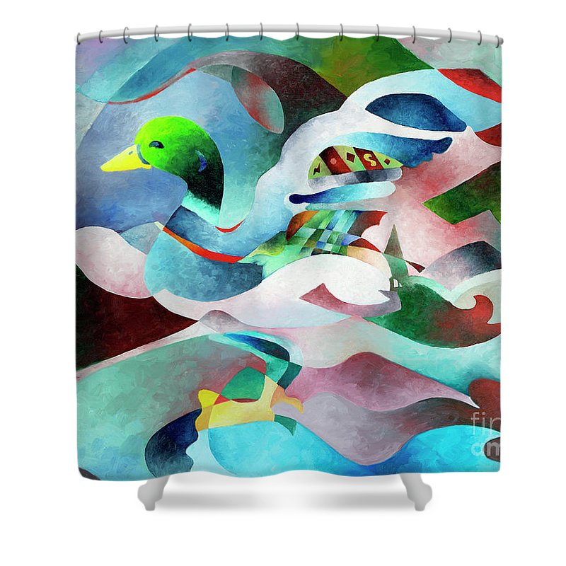 Duck Shower Curtain featuring the painting Mallard by Sally Trace