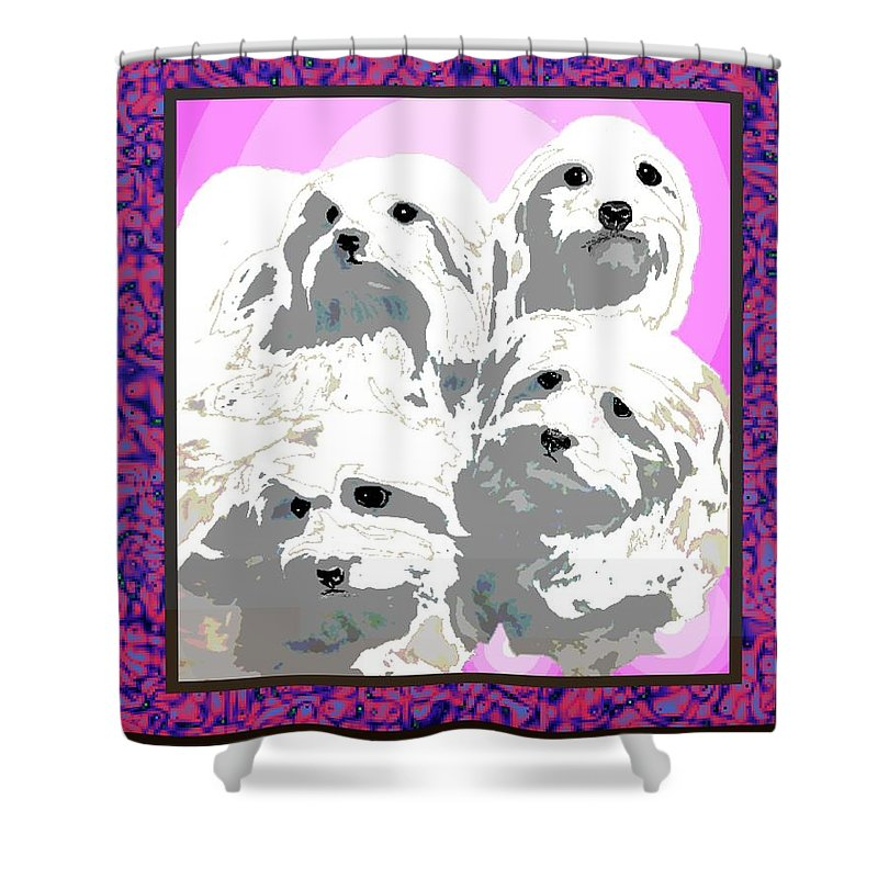Maltese Group Shower Curtain featuring the digital art Maltese Group by Kathleen Sepulveda