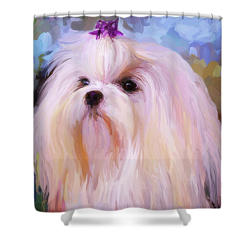 Maltese Shower Curtain featuring the painting Maltese Portrait - Square by Jai Johnson