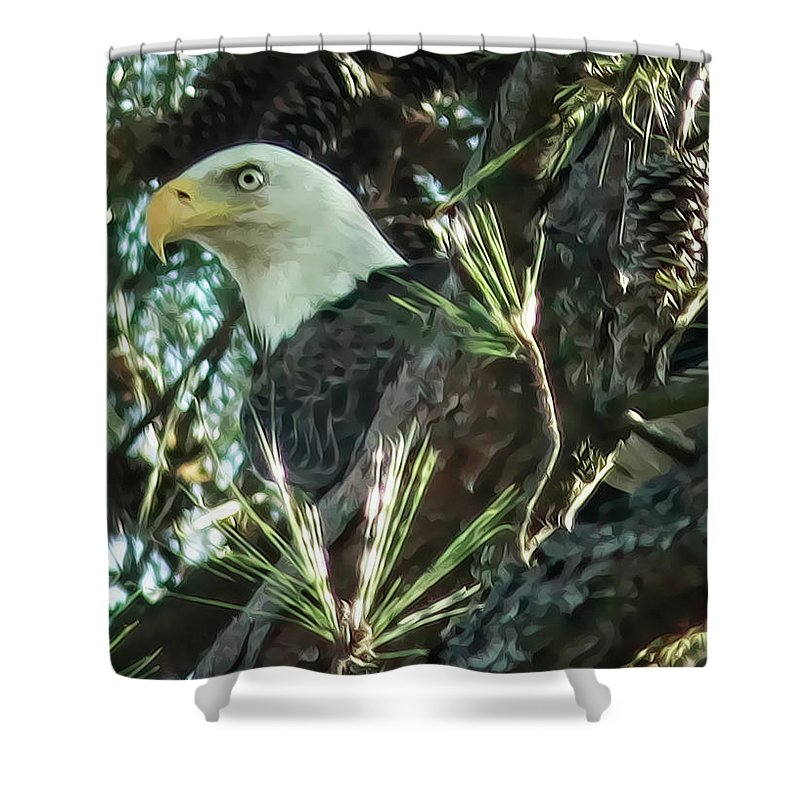 Bald Eagle Shower Curtain featuring the digital art Mama Eagle by Phill Doherty