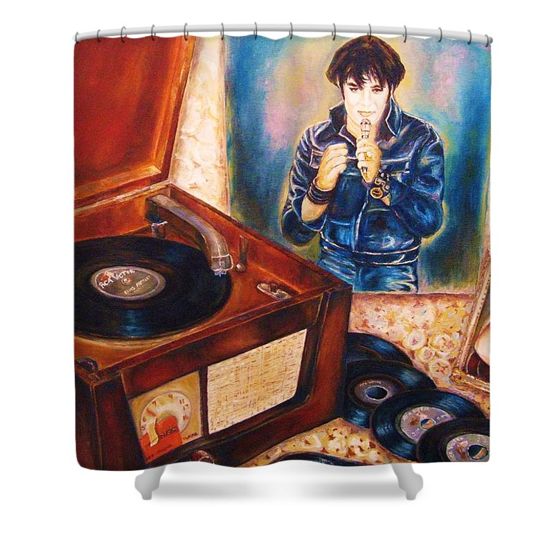 Elvis Shower Curtain featuring the painting Mama Loved The Roses by Carole Spandau