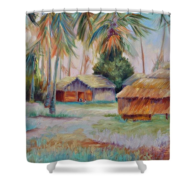 Mambasa Shower Curtain featuring the painting Hut Village in Mambasa by Ginger Concepcion