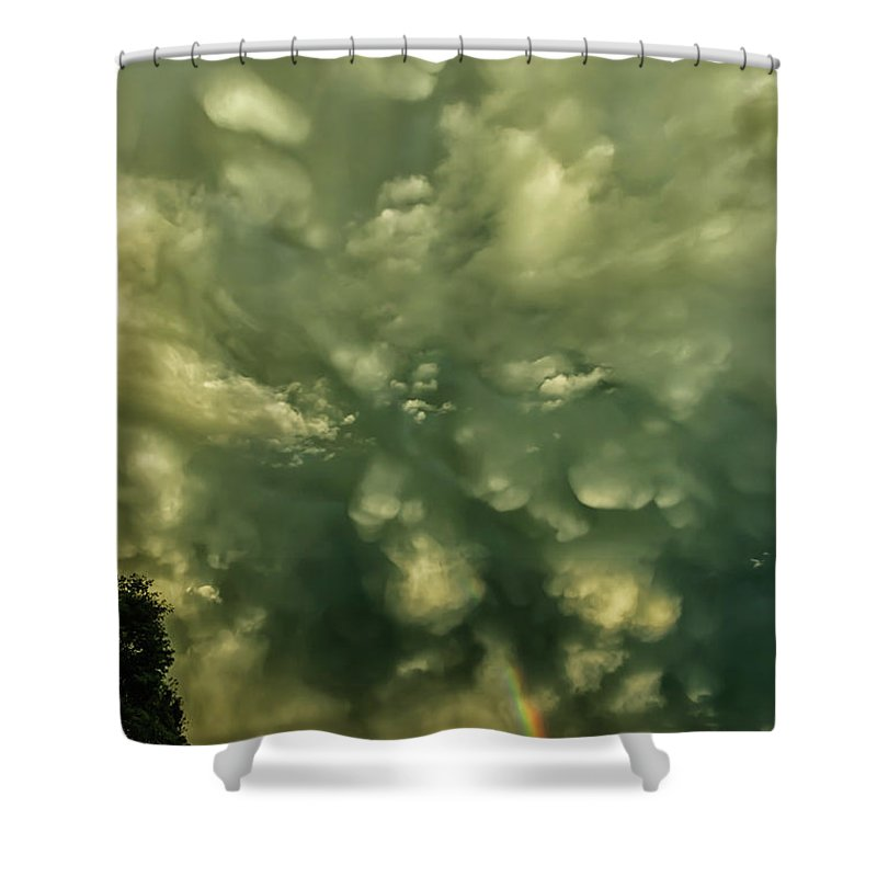 Mammatus Shower Curtain featuring the photograph Mammatus Clouds And Double Rainbow by Thomas R Fletcher