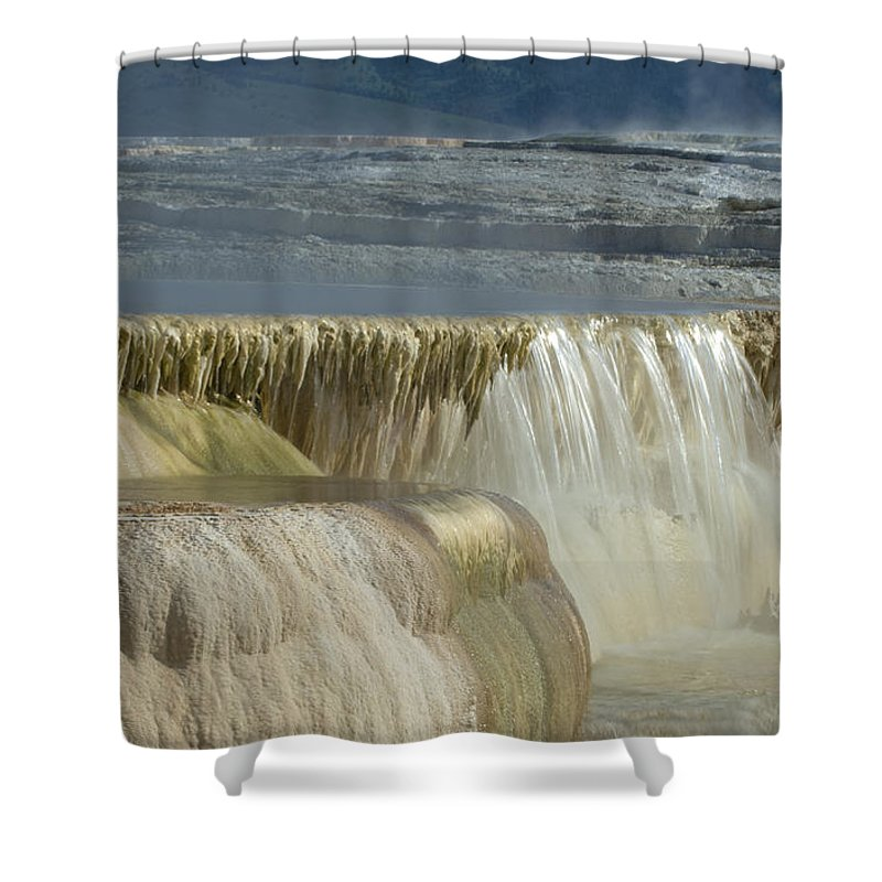 Yellowstone Shower Curtain featuring the photograph Mammoth Hot Springs - Yellowstone by Sandra Bronstein