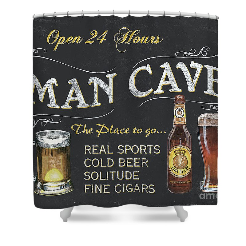 Sports Shower Curtain featuring the painting Man Cave Chalkboard Sign by Debbie DeWitt