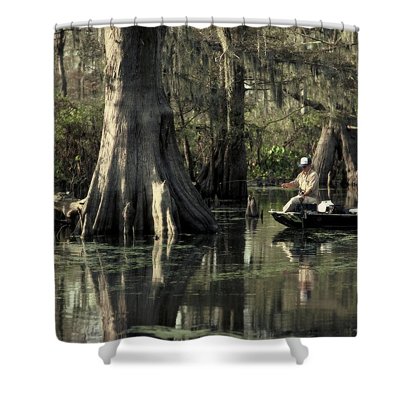 Fishing Shower Curtain featuring the photograph Man Fishing In Cypress Swamp by Herman Robert