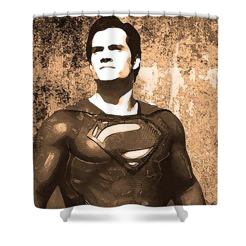 Clark Kent Shower Curtain featuring the digital art Man Of Steel by Alex Antoine