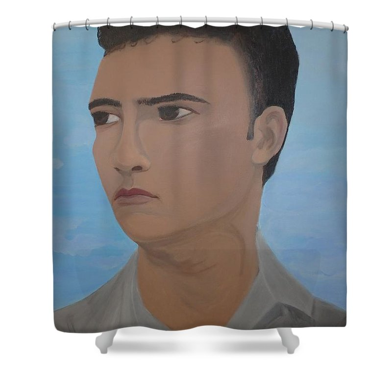 Portrait Shower Curtain featuring the painting Man Portrait by Florentina Toma
