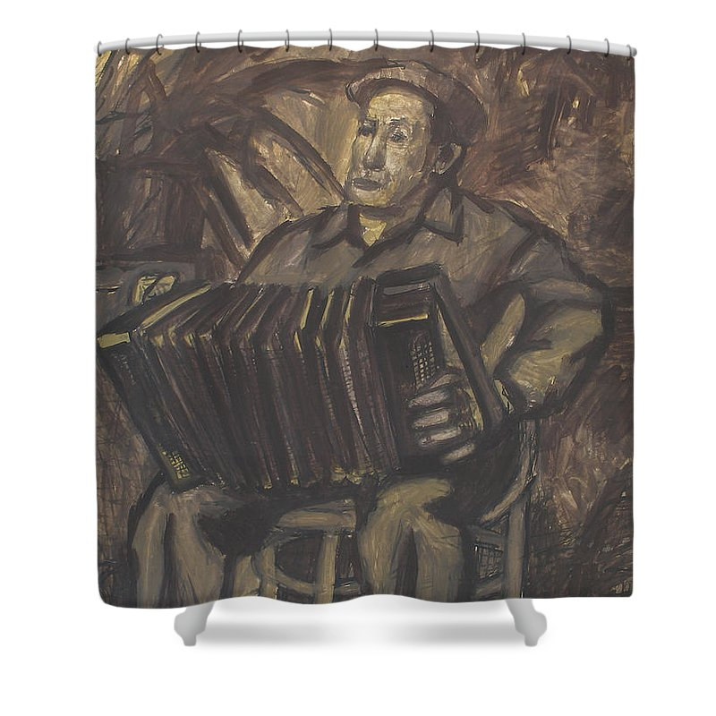 People Shower Curtain featuring the painting Man by Robert Nizamov