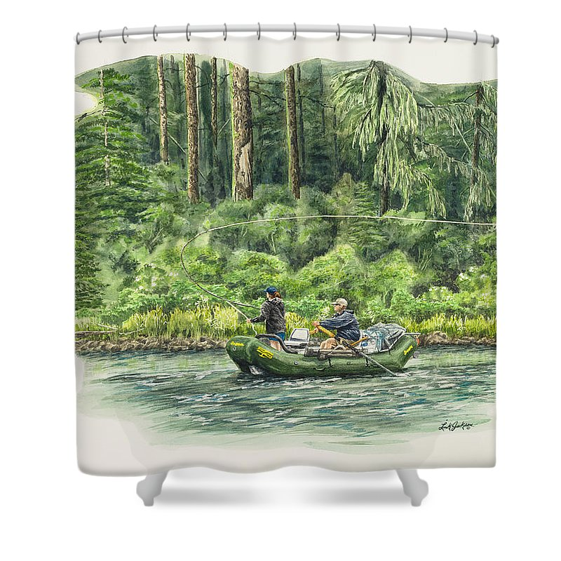 River Shower Curtain featuring the painting Man Rows Woman by Link Jackson