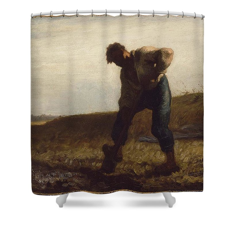 Man Turning Over The Soil About 1847�50 Jean-fran�ois Millet (french Shower Curtain featuring the painting Man Turning Over The Soil by MotionAge Designs