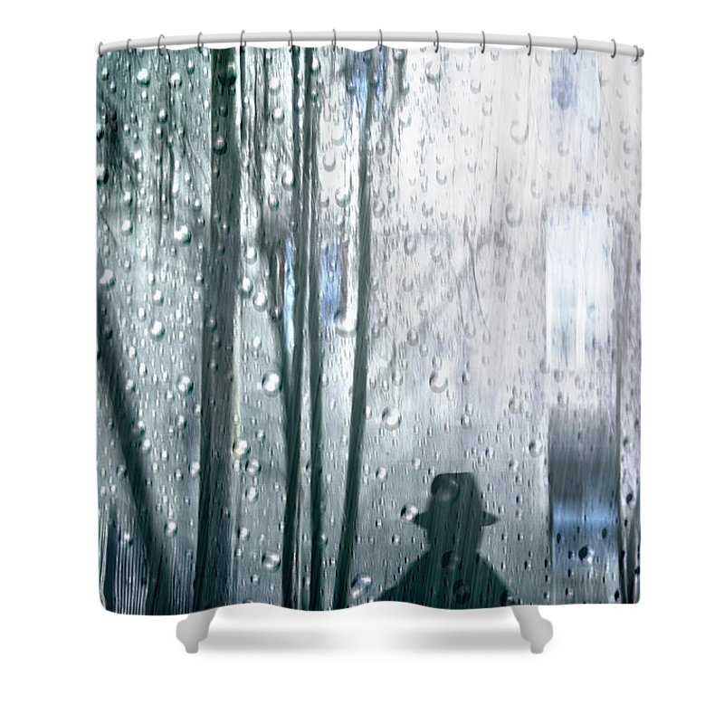 Person Shower Curtain Featuring The Photograph Man Under Rain By Larisa Fedotova
