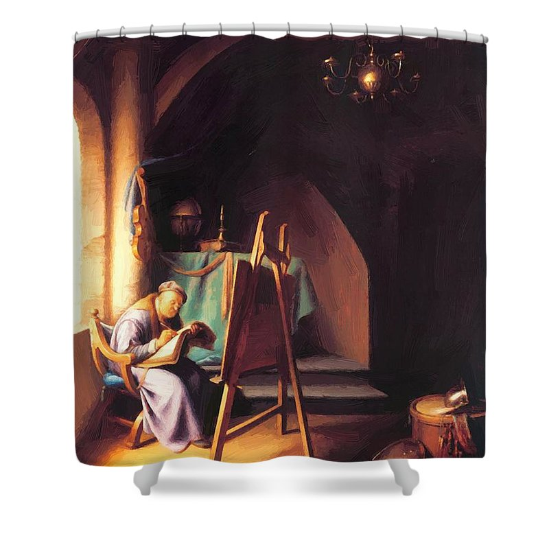 Man Shower Curtain featuring the painting Man With Easel by Dou Gerrit