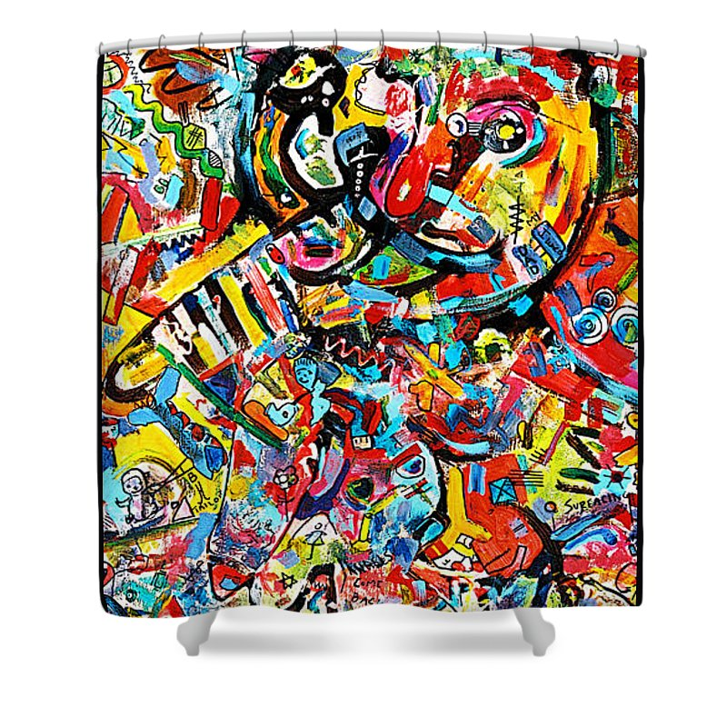 Abstract Painting Shower Curtain featuring the painting Man With Red Nose by Kathi Halickman
