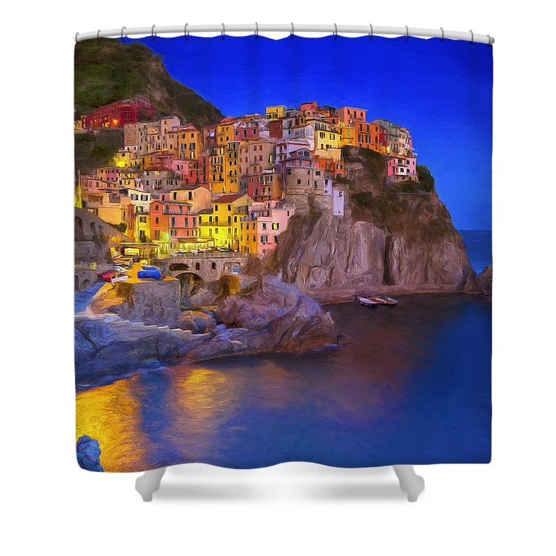 Monterosso Al Mare Shower Curtain featuring the painting Manarola By Moonlight by Dominic Piperata