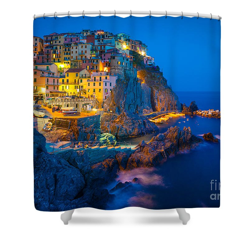 Cinque Terre Shower Curtain featuring the photograph Manarola By Night by Inge Johnsson