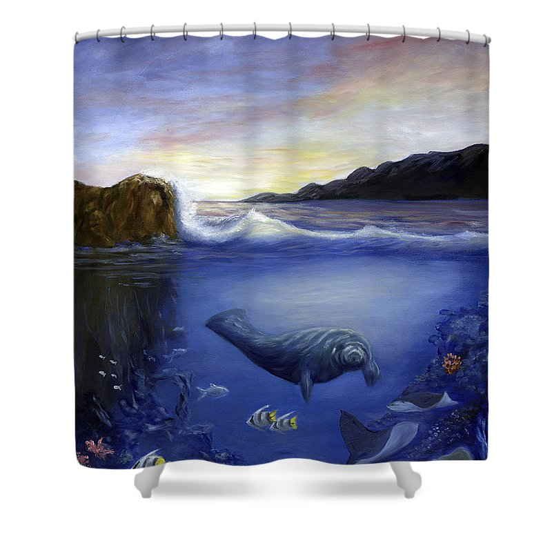 Seaworld Shower Curtain featuring the painting Manatee by Anne Kushnick