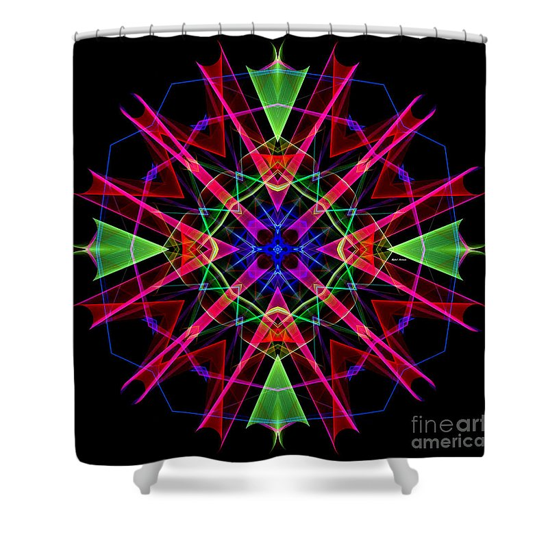 Rafael Salazar Shower Curtain featuring the digital art Mandala 3351 by Rafael Salazar