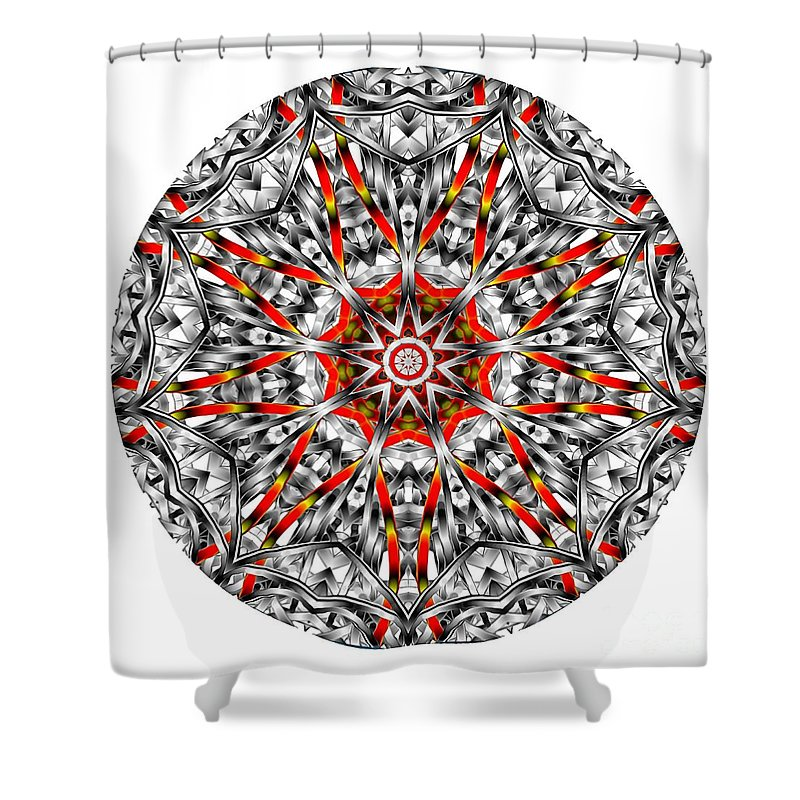 Amulet Shower Curtain featuring the digital art Mandala - Amulet 873 For Those Born In ..... by Marek Lutek