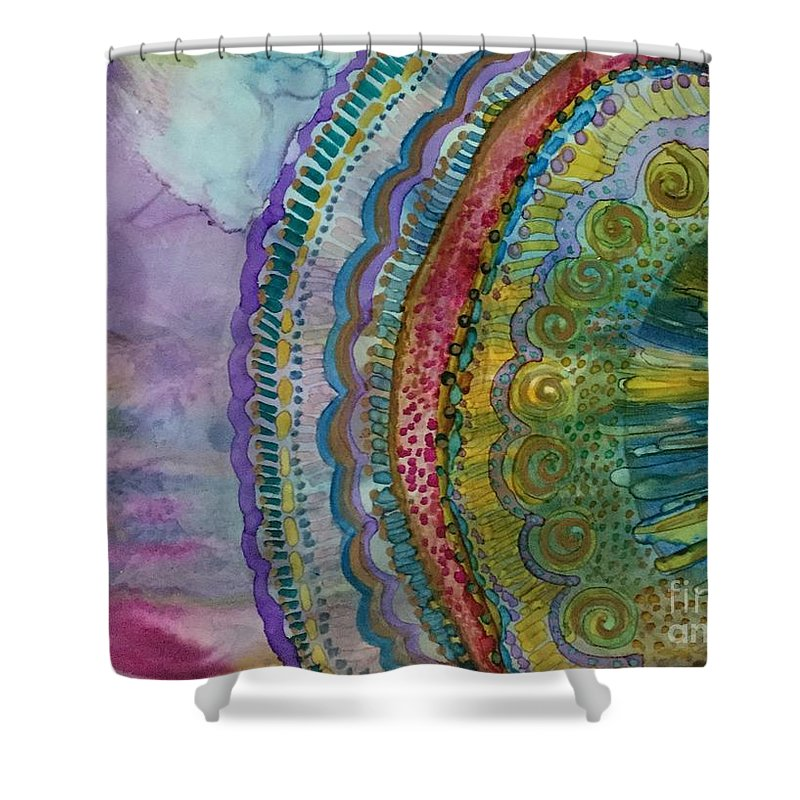 Abstract Mandala Shower Curtain featuring the painting Mandala by Nancy Koehler