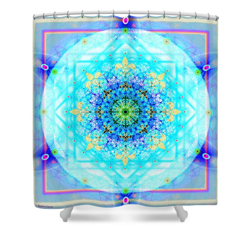 Mandala Shower Curtain featuring the digital art Mandala Of Womans Spiritual Genesis by Stephen Lucas