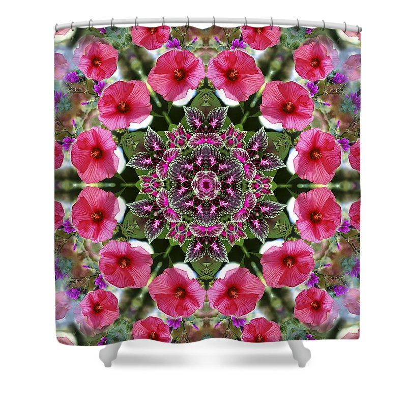 Mandala Shower Curtain featuring the digital art Mandala Pink Patron by Nancy Griswold