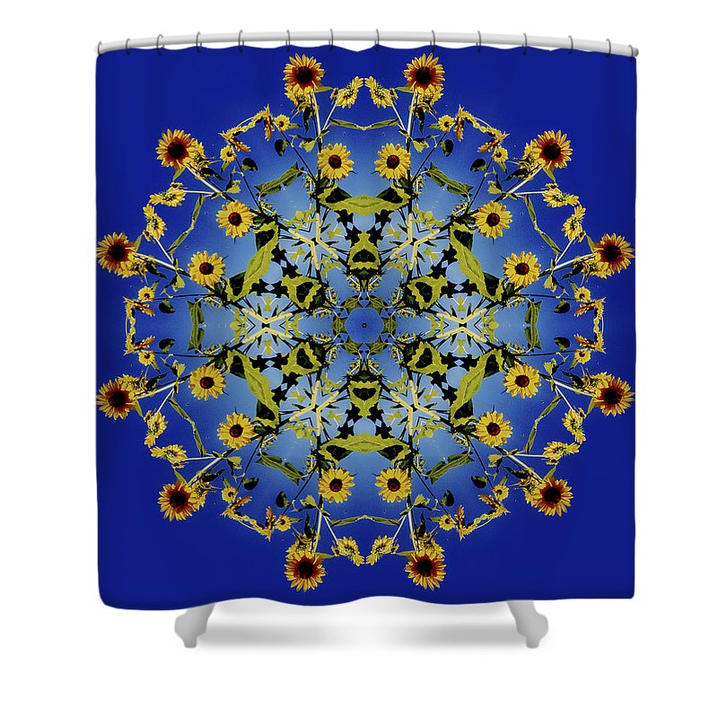 Mandala Shower Curtain featuring the digital art Mandala Sunflower by Nancy Griswold