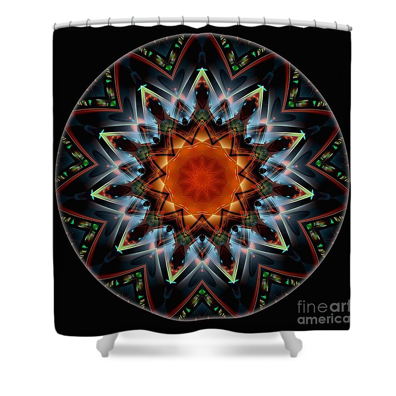 Talisman Shower Curtain featuring the digital art Mandala - Talisman 1538 by Marek Lutek