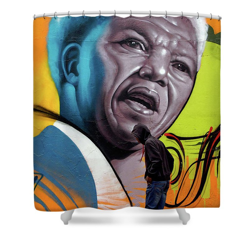 Street Mural Life Shower Curtain featuring the photograph Mandela Watching by Suzanne Morshead