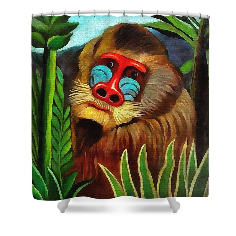Henri Rousseau Shower Curtain Featuring The Painting Mandrill In Jungle By