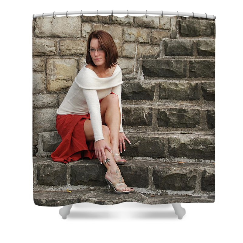 Model Shower Curtain featuring the photograph Mandy 0103 by Guy Whiteley