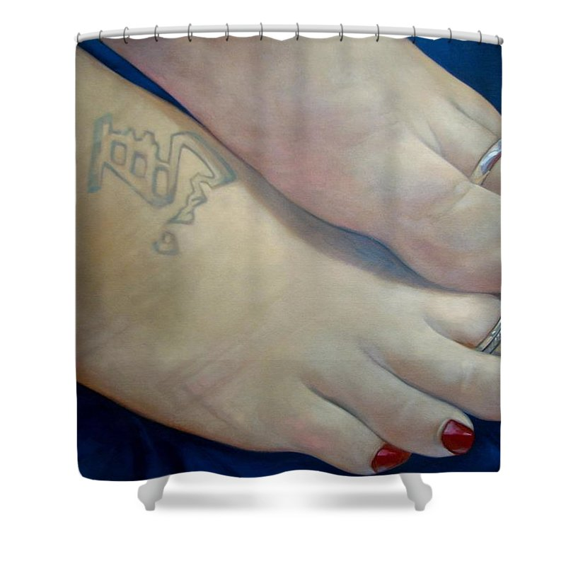 Toes Shower Curtain featuring the painting Mandys Toes by Jerrold Carton
