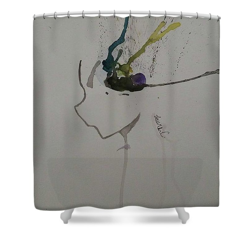 Experiment Shower Curtain featuring the painting Manga Abstract by Lauren Champion