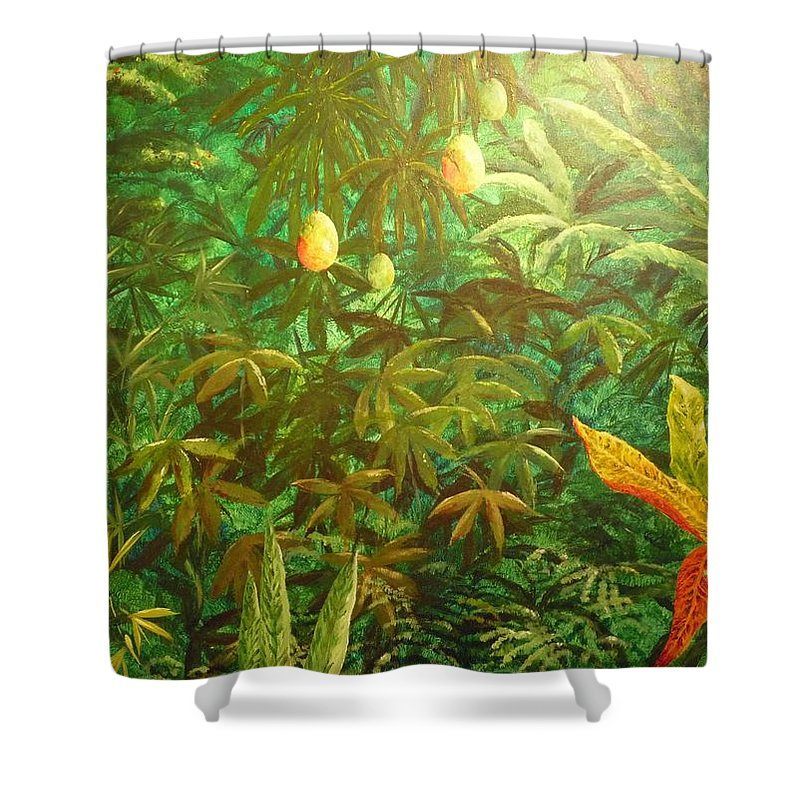 Mango Shower Curtain featuring the painting Mango Hill by Patti Bean