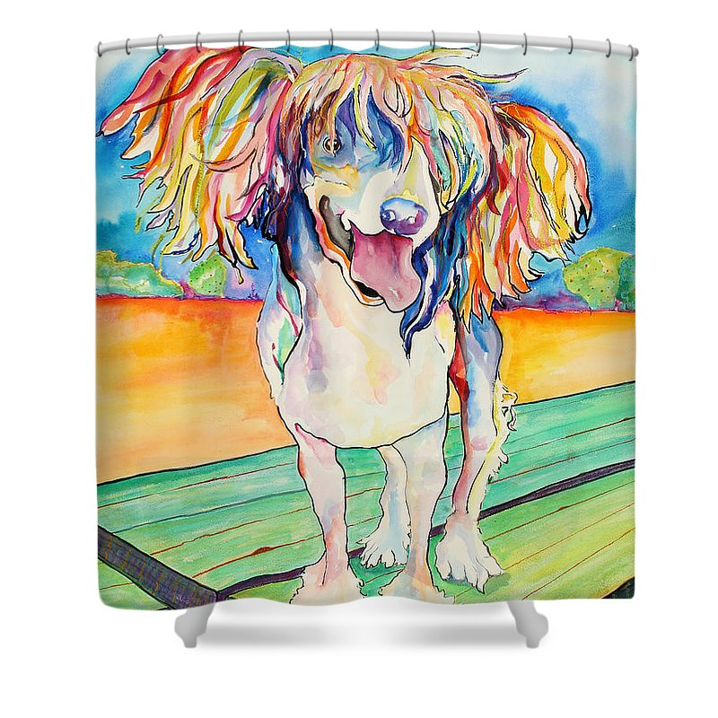 Chinese Crested Shower Curtain featuring the painting Mango Salsa by Pat Saunders-White
