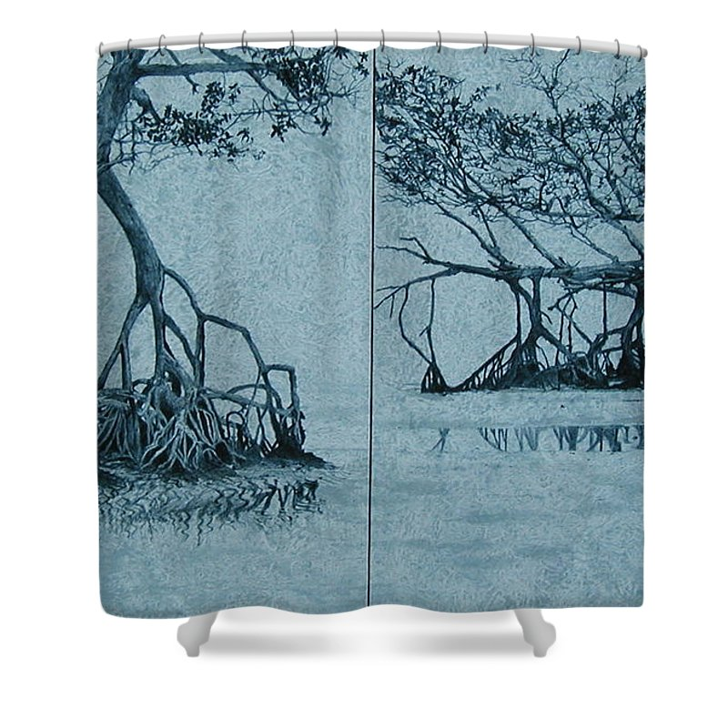 Blue Shower Curtain featuring the painting Mangroves by Leah Tomaino
