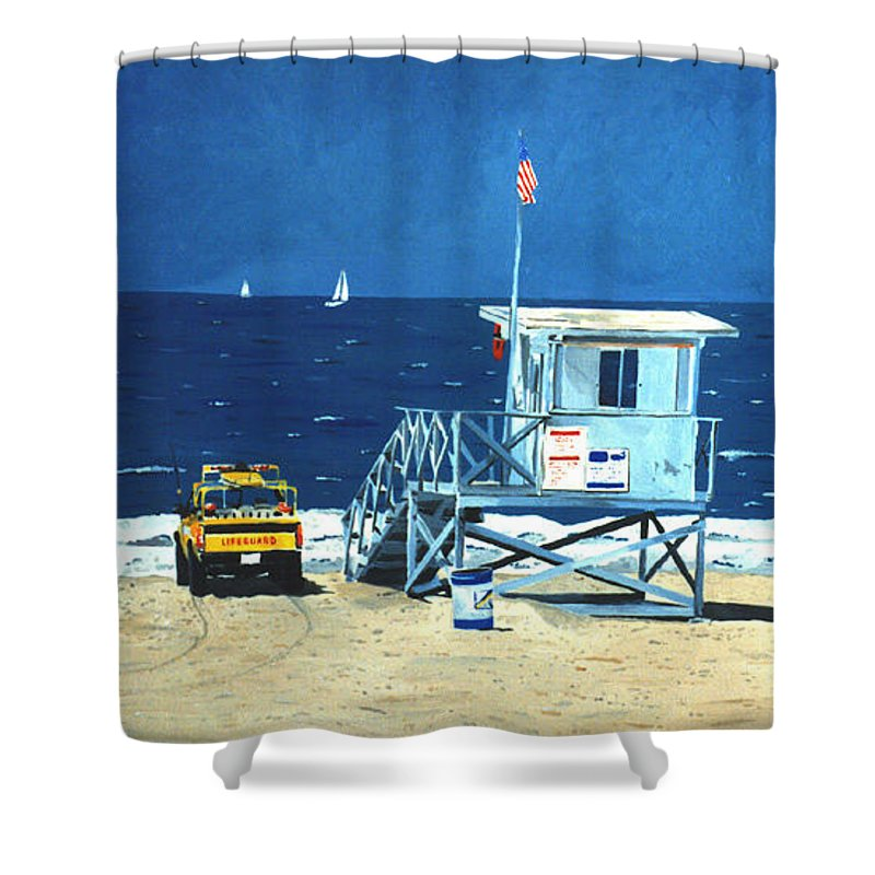 Modern Shower Curtain featuring the painting Manhattan Beach Lifeguard Station by Lance Headlee