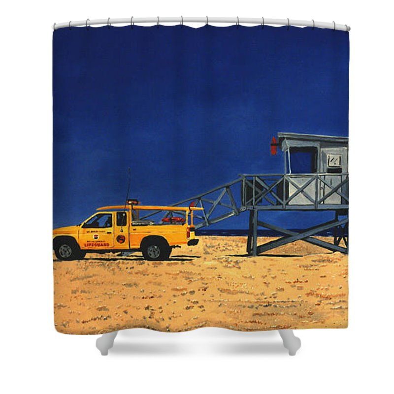 Modern Shower Curtain featuring the painting Manhattan Beach Lifeguard Station Side by Lance Headlee