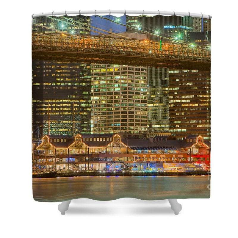 Clarence Holmes Shower Curtain featuring the photograph Manhattan Night Skyline I by Clarence Holmes