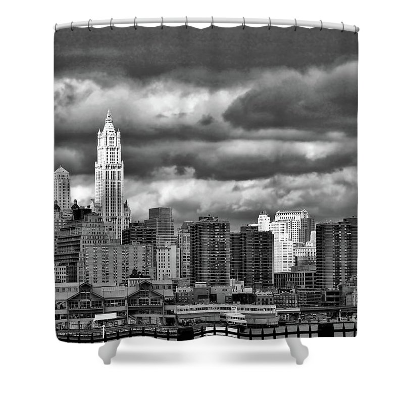 Nyc Shower Curtain featuring the photograph Manhattan Nyc Storm Clouds Cityview by Chuck Kuhn
