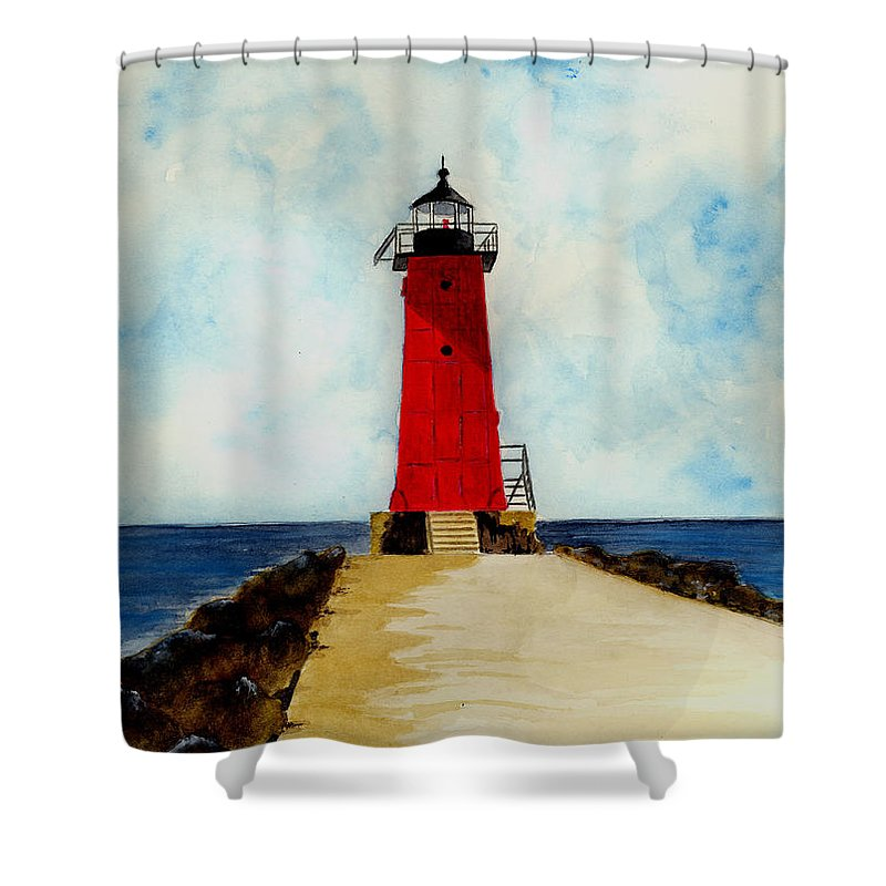 Lighthouse Shower Curtain featuring the painting Manistique Breakwater Lighthouse by Michael Vigliotti