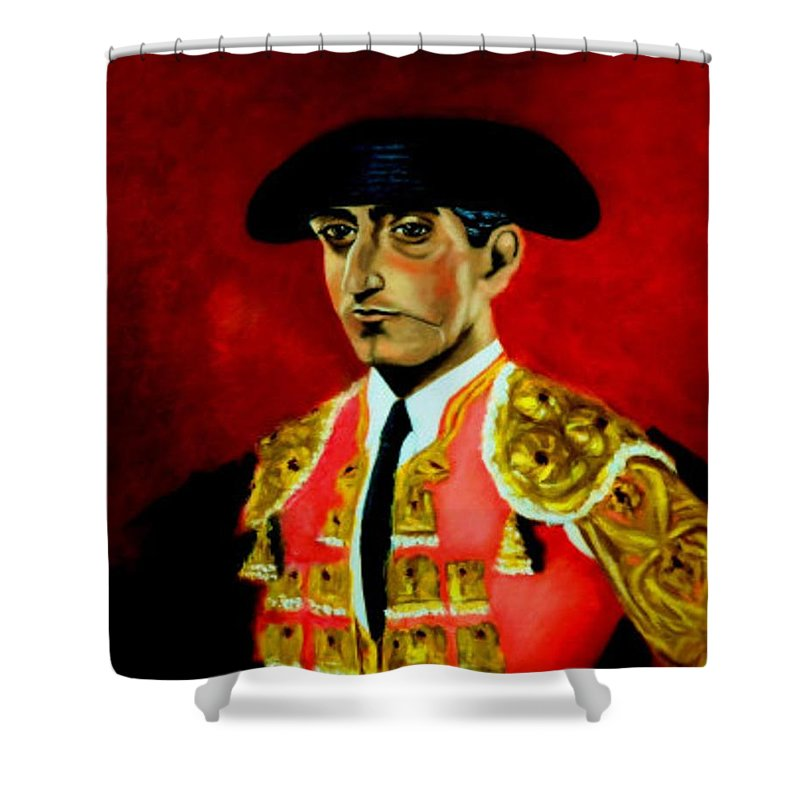 Bullfighter Shower Curtain featuring the painting Manolete by Manuel Sanchez
