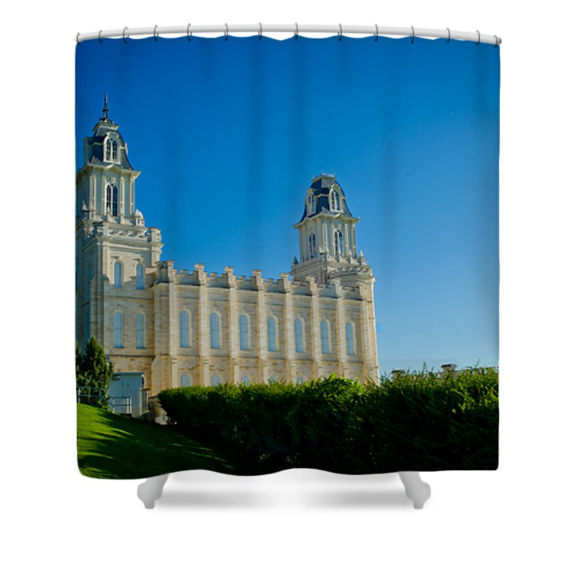 Manti Temple Shower Curtain featuring the photograph Manti Temple North Hill by La Rae Roberts