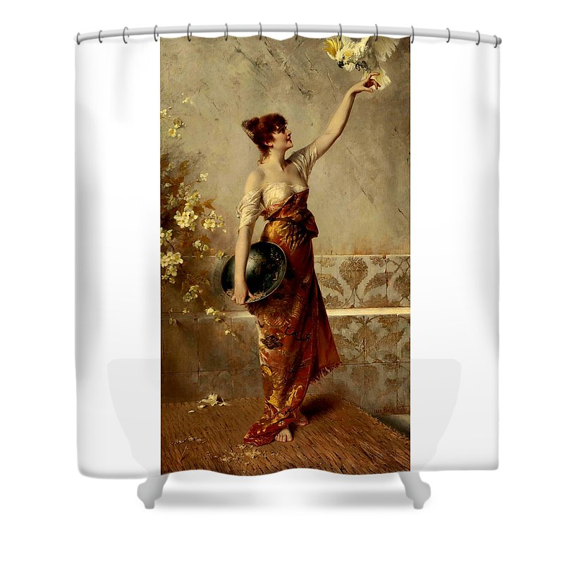 Conrad Shower Curtain featuring the painting Manuela by Conrad Kiesel