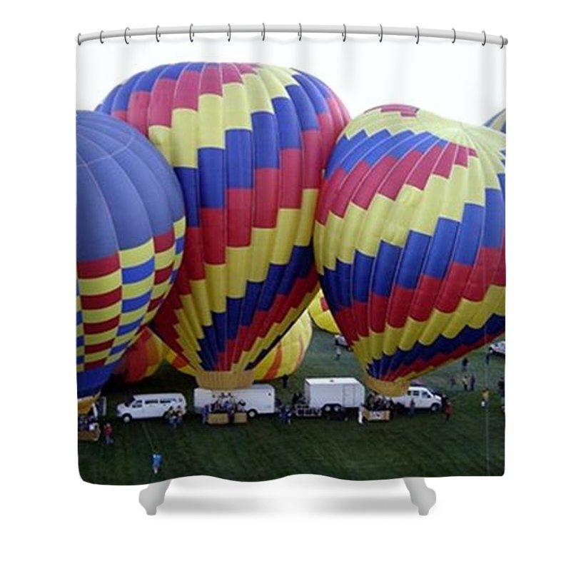 Hot Air Balloons Shower Curtain featuring the photograph Many Balloons by Mary Rogers