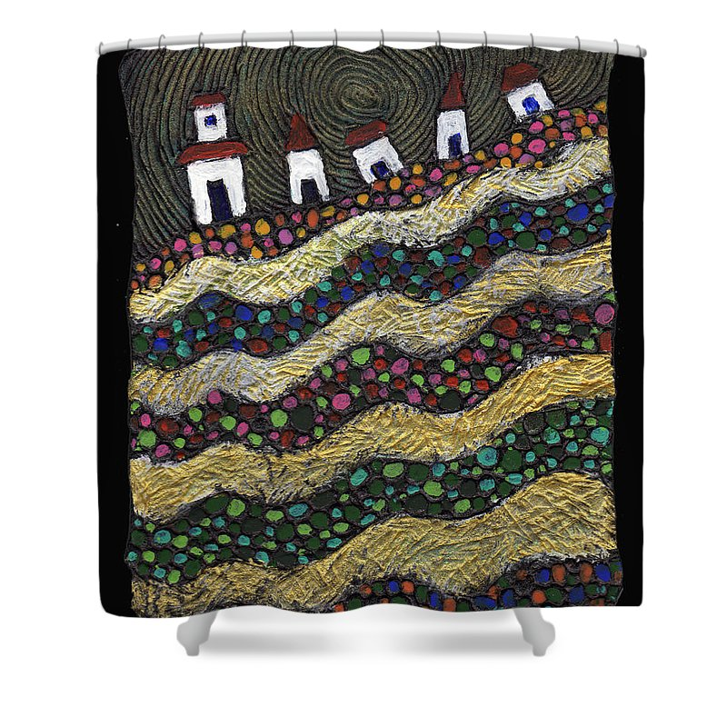 Folk Art Shower Curtain featuring the painting Many Paths Lead To The Top by Wayne Potrafka